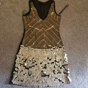 Gold sequin XOXO dress